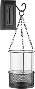 """Retrome Black Wall Sconce Candle Holder with Removable Hurricane Glass Cylinder, Decorative Metal Hanging Lantern Frame Pillar Candle Holder, 15"""""""