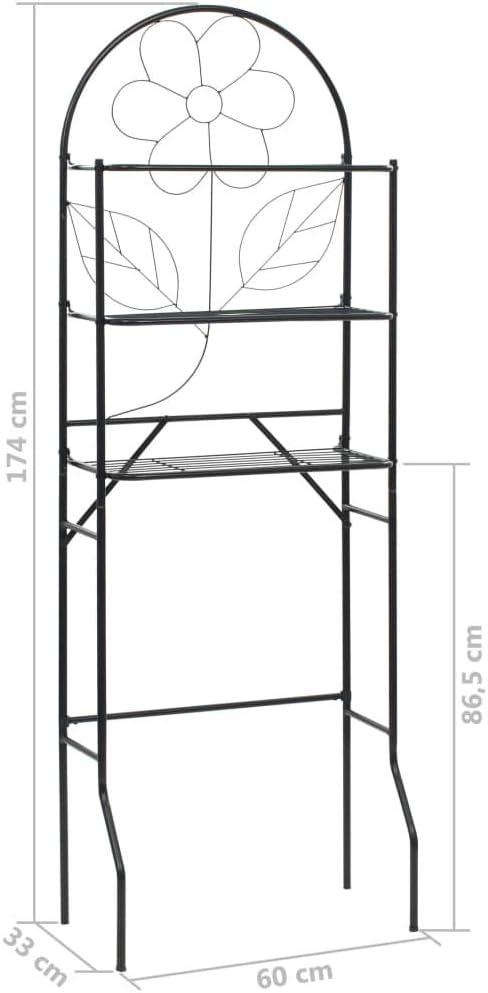 vidaXL Estante de Ba/ño Negro 60x33x174 cm Estanter/ía Repisa Mueble Organizador