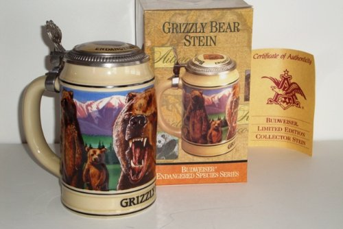 1993 Budweiser Endangered Species Series, Lidded Beer Stein, Grizzly Bear by Ceramarte