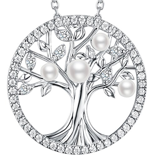 Birthday Mothers Day Gifts Tree of Life Love Family Necklace Sterling Silver Jewelry April June Birthstone White Pearl Pendants Anniversary Gifts for Her Mom Family 20