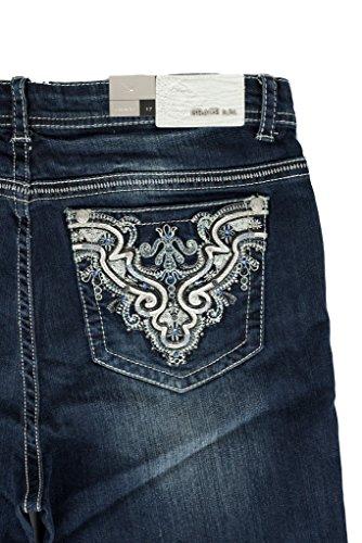 Grace in LA Idol Jeans Easy Fit Plush Swirl Western Rhinestone Dark Wash Straight Leg (19)