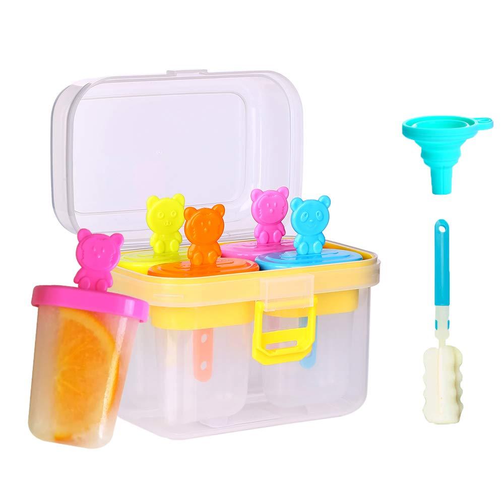 set of 4 FORGU BPA Free Popsicle Molds Ice Reusable Frozen Pop Molds Homemade DIY Ice Cream Yogurt Juice Fruit with Lock Lids for Baby Kids Family