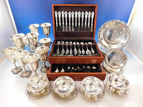 - Grande Baroque Wallace Sterling Silver Flatware 103 pc Set + Hollowware Plates