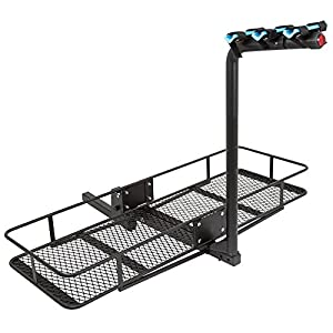 "Rage Powersports 3-Bicycle 60"" Folding Cargo Carrier Basket Rack Combo for 2"" Hitches"
