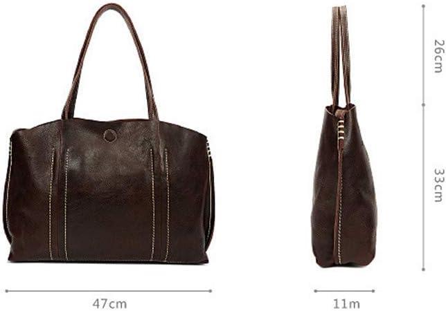 Vintage Womens Handbags Cow Female Shoulder Bag Simple Large Capacity Women Leather Brown