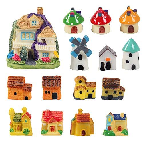 Kbraveo 15 Pieces Miniature Fairy Garden Stone House,Mini Resin House,Mini Fairy Cottage House for Garden,Patio Outdoor Décor