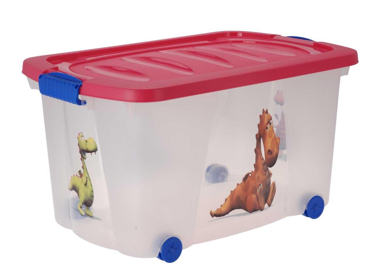Eliware, scatola multiuso per giocattoli, con ruote, Bambini (unisex), Drache-Pink