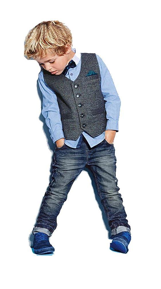 Little Big Boys Formal Wear Outfit Shirt BowTie Vest Jeans Blue 18m 7t