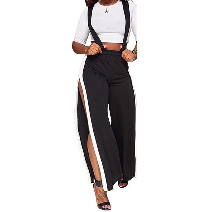 Yying Mono Mujer Verano Conjunto Mujeres Jumpsuit Dos Piezas Set de Ropa Crop Top de Manga Corta Pantalones de Cintura Alta con Rayas: Amazon.es: Ropa y ...
