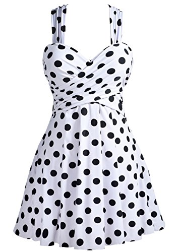 COCOPEAR Women's Elegant Crossover One Piece Swimdress Floral Skirted Swimsuit(FBA) Polka Dot White XL/10-12