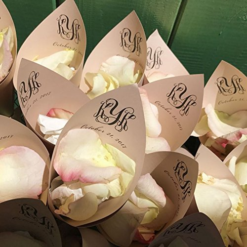 Rose Gold Personalized Wedding Petal Favor Cones (Wide Colonial Rose)