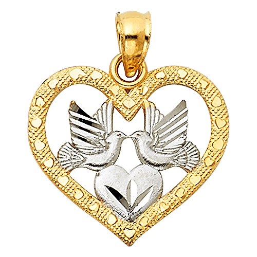 Solid 14k Yellow White Gold Heart Love Birds Pendant Charm Diamond Cut Religious Design 16 x 18 mm