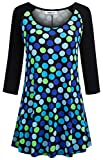 Helloacc Womens Long Sleeve T Shirts,Scoop Neck Over Office Tops Dress Blouses Loose Funny Fit 3 4 Sleeves Color Block Clothing for Full Figure Girls Slimmer Colorful Polka Dots Navy Yellow Black M
