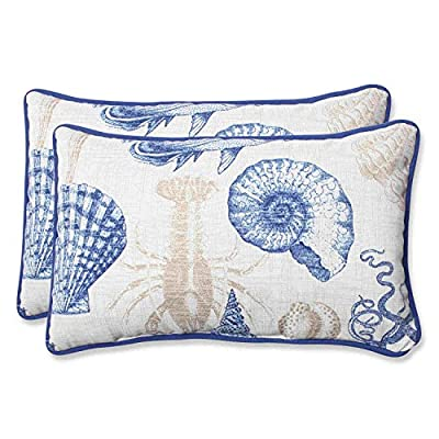 Pillow Perfect Outdoor Sea Life Marine Rectangular Throw Pillow, Set of 2 - Includes two (2) outdoor pillows, resists weather and fading in sunlight; Suitable for indoor and outdoor use Plush Fill - 100-percent polyester fiber filling Edges of outdoor pillows are trimmed with matching fabric and cord to sit perfectly on your outdoor patio furniture - patio, outdoor-throw-pillows, outdoor-decor - 51O%2BAyl9cmL. SS400  -