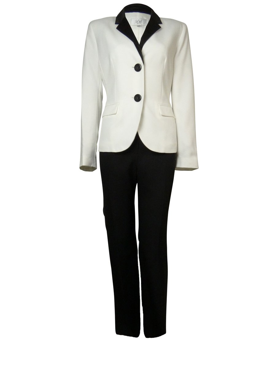 Le Suit Women's Crepe Satin Trim Bordeaux Pant Suit (8P, Vanilla Ice/Black)