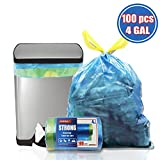 4 gallon small trash bags (blue,100 counts), for bathroom office trash can liners,kitchen drawstring trash bags