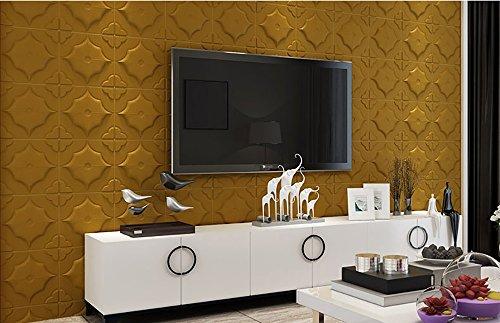 Wallpaper 3d elastic brickTV background brick 70 70CM 3d wall stickers living room flexible foam brick stickers bedroom imitation soft Buy one get one (Color : Gold) Wall Foam Roll