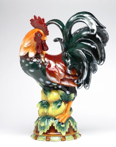 "Pacific Giftware Decorative Rooster Standing on Fruit Ceramic Statue Figurine, 16.5"" H, Medium"