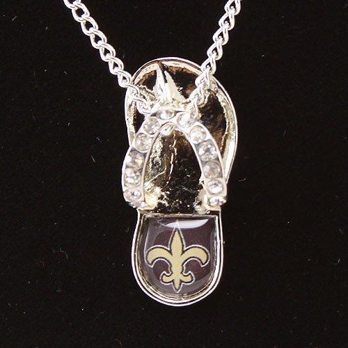 NFL New Orleans Saints Crystal Flip Flop Necklace