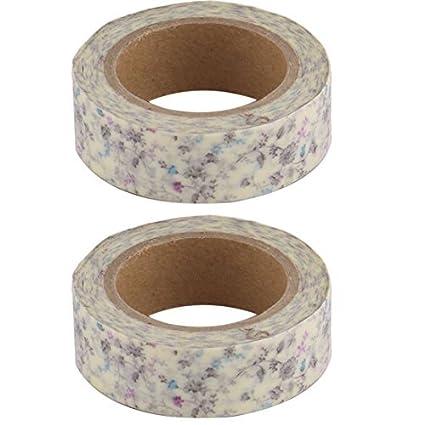 Amazon.com: eDealMax Estampado de Flores de la Familia DIY de Scrapbooking del embalaje de Regalo de enmascaramiento Washi Tape Rollo 2pcs Amarillo claro: ...