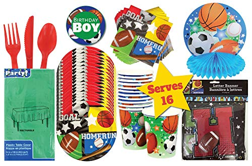 Sports Birthday Party Supplies and Decorations, Birthday Party Disposable Tableware set, Sports Themed Party Kit, Birthday Parties Decor, Paper Plates, Sports Fan Birthday Decoration for Kids