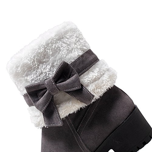 DoraTasia Women's Bow Tie Chunky Mid Heel Shoes Warm Fur Snow Mid Calf Boots Grey Vr58G7EIR5