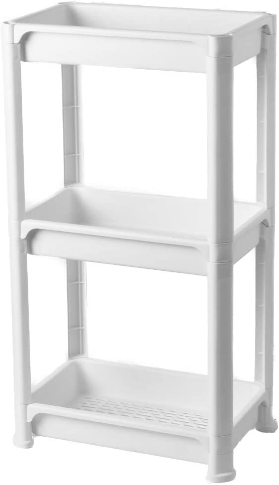VEITSHO 3 Tier Vertical Standing Bathroom Shelving Unit, Decorative Plastic Storage Organizer Tower Rack