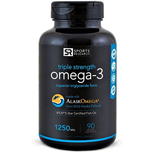 Omega-3 Wild Alaskan Fish Oil (1250mg per Capsule) with Triglyceride Epa & DHA | Heart, Brain & Joint Support | IFOS 5 Star Certified, Non-GMO & Gluten Free (90 (1250 Omega 3)