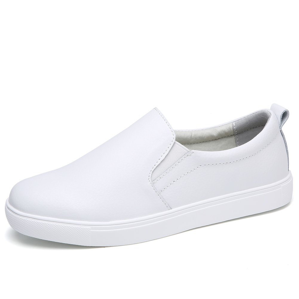 STQ-505baise36 Spring Summer Women Loafers Slip On Sneakers Comfort Leather Work Walking Driving Flats Shoes White 6 B(M) US