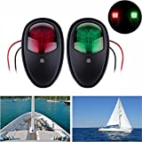 ALLOMN Boat Marine LED Navigation Lights for Pontoon,Yacht,Skeeter,Touring Car,etc as Boat Replacement Part (One Pair -Red and Green) (Black ABS Plastic)