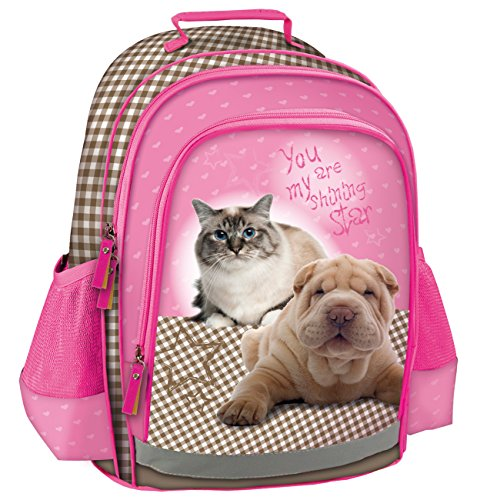 Maxi & Mini – SAC A DOS CARTABLE ECOLE ET LOISIR STAR ANIMALS CHAT ET SHAR PEI CHATON CHIEN