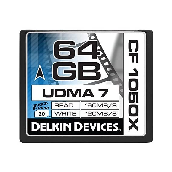 Delkin 128 GB CF 1050X UDMA 7 Cinema Memory Card (DDCF1050-128 GB) 3 4K UltraHD Approved Sustains High Frame Rates Excels in Digital Backs