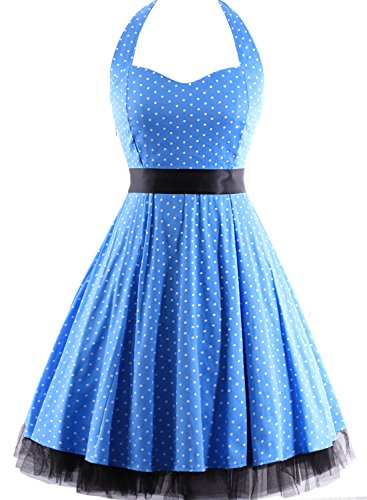 1950s Dresses Costume (OTEN Women's Floral Vintage 1950s Halter Rockabilly Gown Cocktail Party Dress, Blue Polka Dot, 3XL)