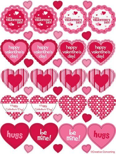 Happy Valentine's Day Party Stickers 4 Pack
