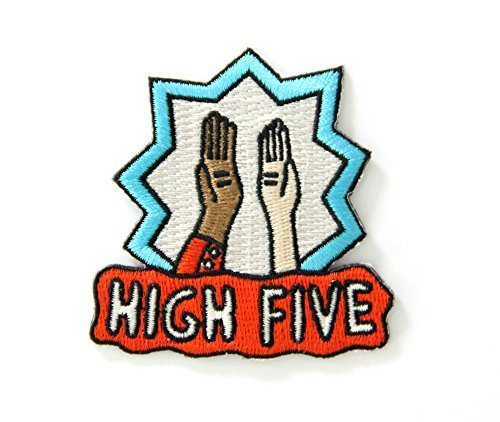 Baseball Embroidery Designs - High Five Embroidered Sew or Iron-on Backing Patch