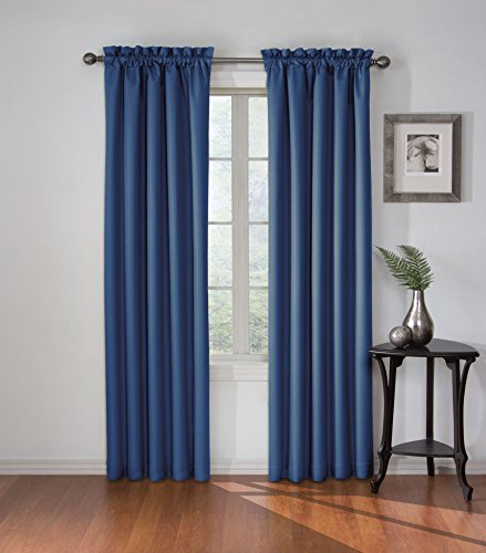 Eclipse 13699042X084DEN Corinne 42-Inch by 84-Inch Blackout Single Window Curtain Panel, Denim (Drapes Black Denim Solid)