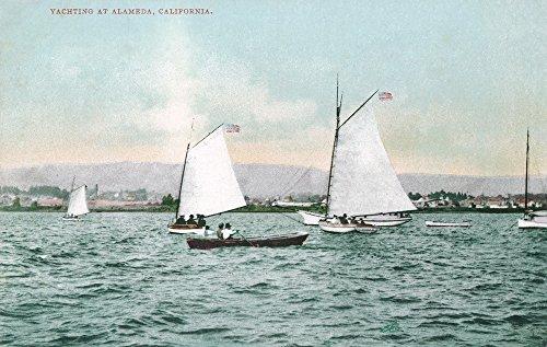 (Alameda, California - Sailboats off Alameda Beach (36x54 Giclee Gallery Print, Wall Decor Travel Poster))