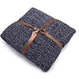 MARQUESS Cable Knit Throw Blanket Super Soft Warm Sleeping Cover Blanket Rug for Adults and Kids in Bedroom Sofa Office and Living Room-Navy Blue