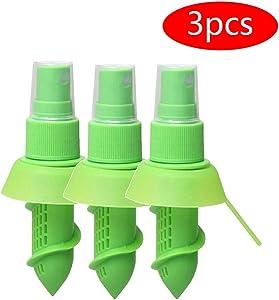 3Pcs Mini Lemon Citrus Sprayer, Fruit Juicer Squeezer Spray Evenly Vertical Screwed Dust Cover Design Sharp Threaded Bottom, for Kitchen Salads Seafood