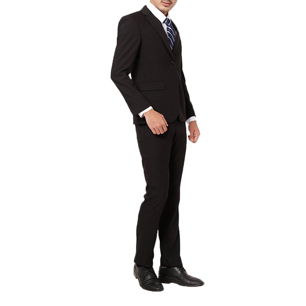 WBY スーツ メンズスーツ ビジネススーツ スリム 通気性 高品質 フォーマル ビジネス リクルート 就活 スタイリッシュ セット 紳士 各種サイズ対応 オールシーズン B07565G5P6 44サイズスーツバスト98 /パンツウェスト76.5|ブラック ブラック 44サイズスーツバスト98 /パンツウェスト76.5