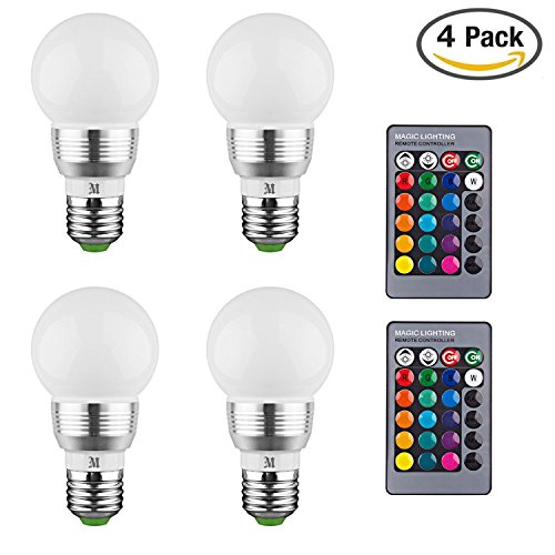 KOBRA LED Bulb Color Changing Light Bulb With Remote Control (4 Pack)16  Different Color Choices Smooth, Flash Or Strobe Mode  Premium Quality U0026  Energy ...