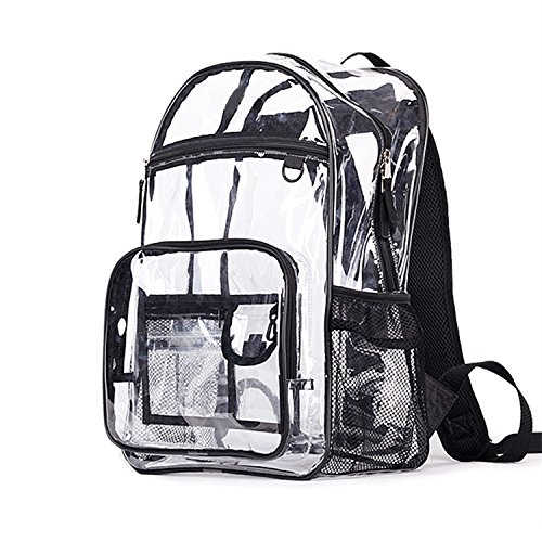 Youndcc Clear Backpack Security Backpack School Backpack Outdoor Backpack, Transparent/Waterproof/Multi-pockets/Lightweight/NFL Stadium (Nfl School Backpack)