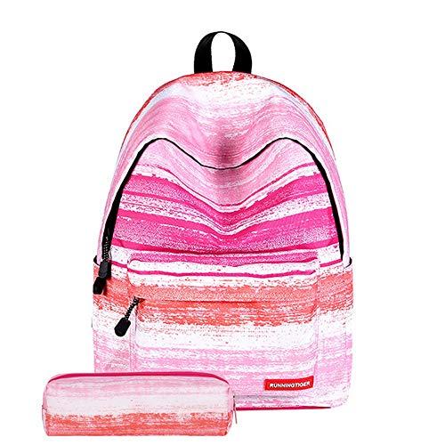 de Voyages Cartable Sac École Mode Étudiant Dos Filles Université Camping Crayon Rayure Imprimé Sac Rose Dihope Sacs Collège à q7Hw4xxp