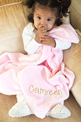 Pink Plush Personalized Baby Blanket by Simply Crafty