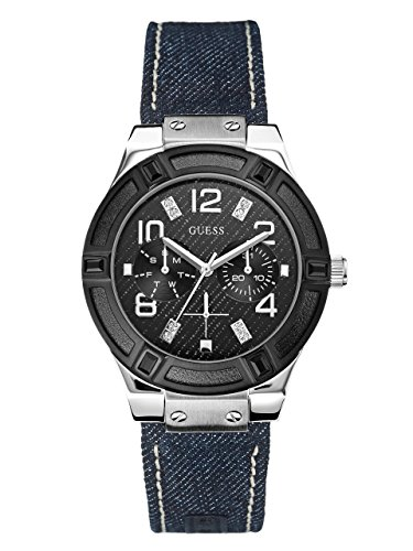 GUESS-Denim-Black-and-Silver-Tone-Standout-Sparkle-Watch