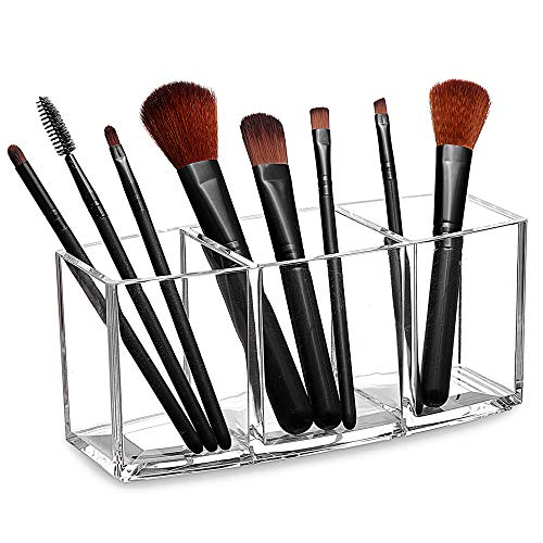 Tasybox Clear Makeup Brush Holder Organizer   3 Slot Acrylic Cosmetic Brushes Storage   Eyeliners Eyebrow Pencil Display Case
