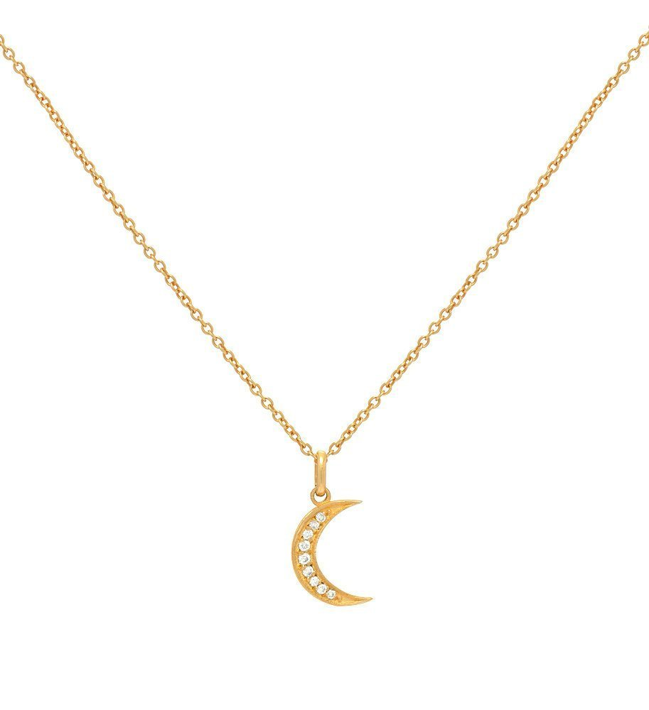Diamond moon necklace, 14k solid gold