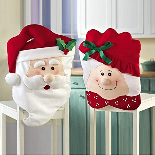 Christmas Santa Claus Suit Kitchen Chair Covers, Mr. and Mrs.Santa Clause Chair Slipcover Suit for Dining Room Xmas Holiday Decoration (Set of 2) ()