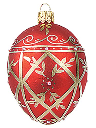 Pinnacle Peak Trading Company Faberge Inspired Mini Red Decorated Egg Polish Glass Christmas Easter Ornament