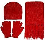 Women's 3 Piece Winter Knitted Beanie Hat Gloves&Scarf Set,Red